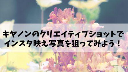 【SX60HS編】キヤノンのクリエイティブショットで、インスタ映え写真を狙ってみよう!