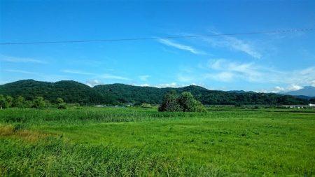 青い森鉄道の車窓から見る田園風景